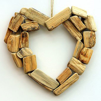 Heart made of wooden blocks